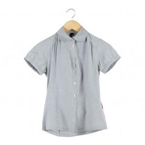 Topshop White And Dark Blue Striped Shirt