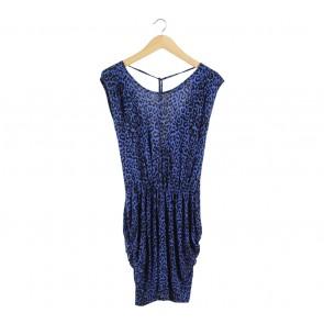 Warehouse Blue And Black Leopard Mini Dress