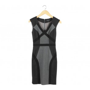 Warehouse Grey And Black Sleeveless Mini Dress