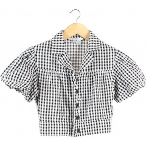 Zara Black And White Plaid Cropped Shirt
