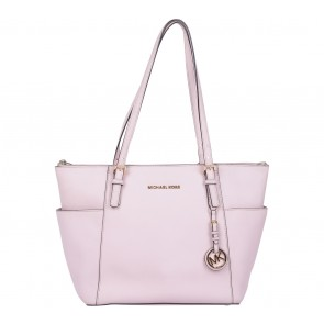 Michael Kors Pink Jet Set Top-Zip Saffiano Tote Bag
