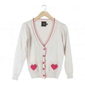 Asos Cream And Red Cardigan