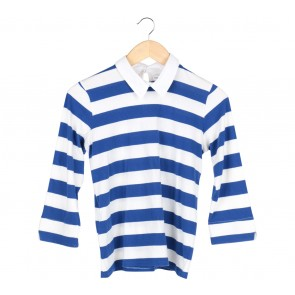 Cotton Ink Blue And Off White Striped T-Shirt