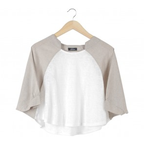 Lilac Off White And Cream Batwing Cropped Blouse