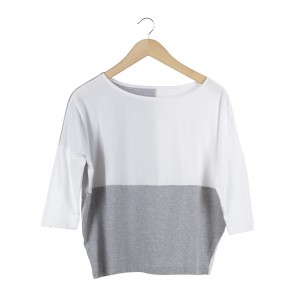 Soep Shop White And Grey Blouse