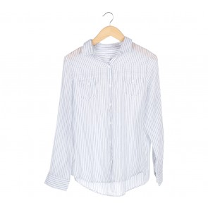 Cotton On White And Grey Striped Sheer Shirt