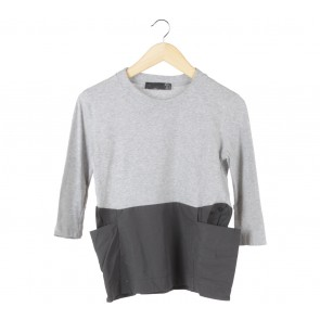 Zara Grey And Black Combi Blouse