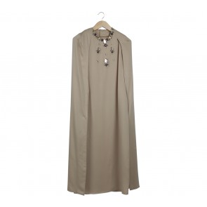 Uma Brown Beaded Cape Long Dress