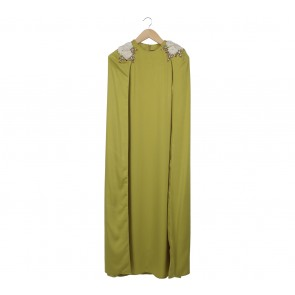 Uma Green Beaded Cape Long Dress