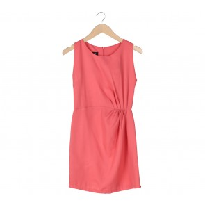 Risaya Peach Pleated Sleeveless Mini Dress