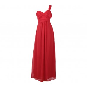 BCBG Red Pleated Sleeveless Long Dress
