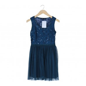 Marc Jacobs Dark Blue Sequins Sleeveless Mini Dress