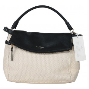 Kate Spade Cream And Black Cobble Hill Straw Satchel