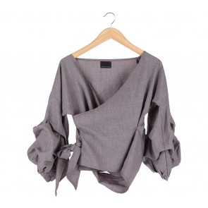 ATS The Label Grey Wrap Blouse