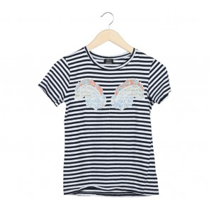 Zara Black And White Embroidery T-Shirt