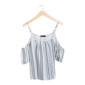 Atmosphere Black And White Striped Off Shoulder Blouse