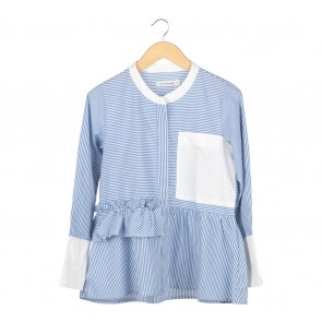 Cotton Ink Blue And White Striped Blouse