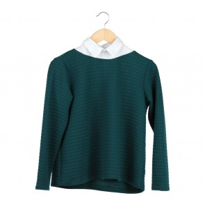 Cotton Ink Dark Green Collared Sweater