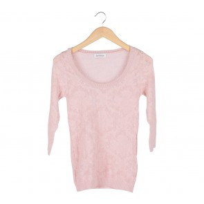 Stradivarius Pink Sheer Insert Sweater