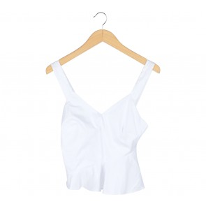 Stradivarius White Cropped Sleeveless