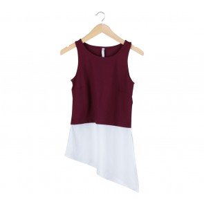 Stradivarius Maroon And White Sleeveless