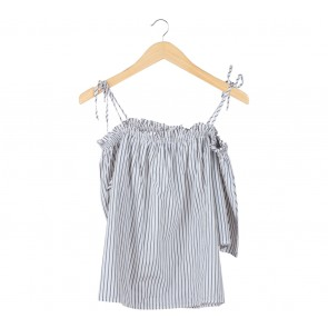 H&M Off White And Dark Grey Striped Off Shoulder Blouse
