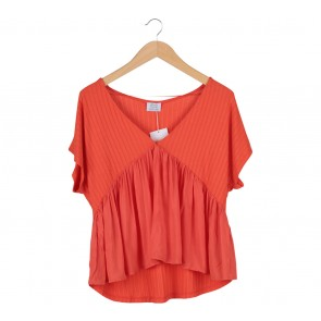 Zara Orange Textured V-Neck Blouse