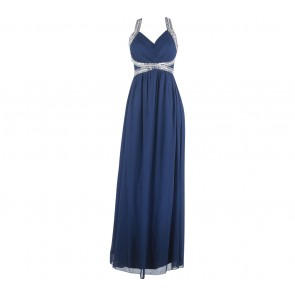 QUIZ Dark Blue Sequins Long Dress