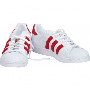 Adidas White And Red Superstar Sneakers