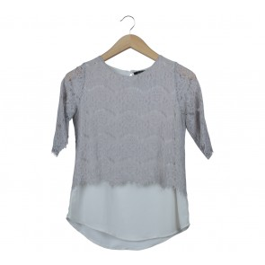 Le Bijou Grey And White Lace Blouse