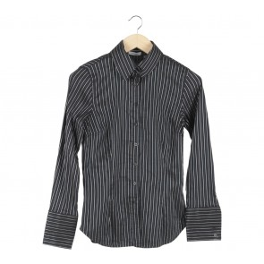 Zara Black And Grey Striped Shirt