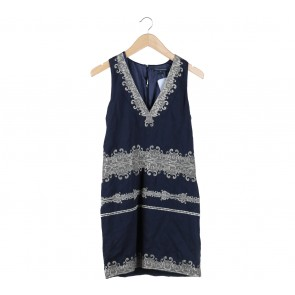 French Connection Dark Blue Embroidery Sleeveless Mini Dress