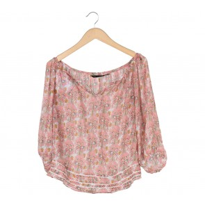 Zara Pink And White Floral Blouse