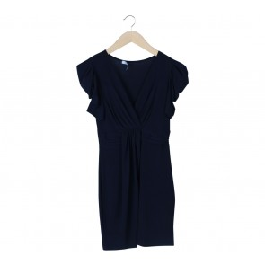 Chic Simple Dark Blue V-Neck Mini Dress