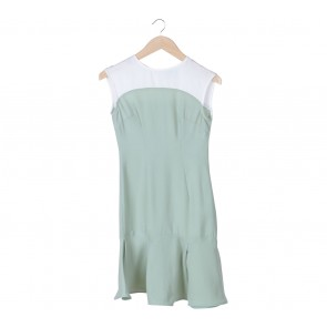 SA Yours Light Green And White Fit and Flare Midi Dress
