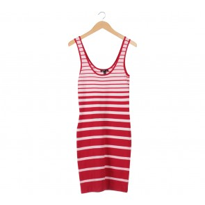 Mango Red And White Striped Mini Dress