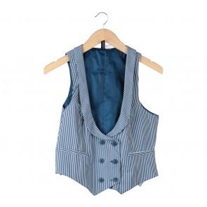 Divided Dark Blue And White Striped Vest