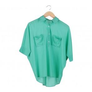 (X)SML Green Batwing Blouse