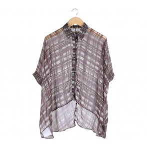 (X)SML Purple And Brown Loose Shirt
