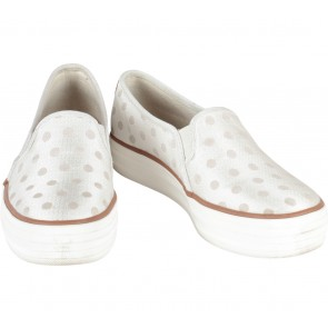 Keds Cream And Brown Polka Dot Slip On Sneakers