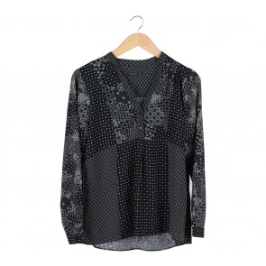 Zara Black And White Patterned Blouse