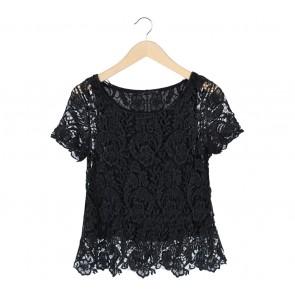 Zara Black lace Blouse