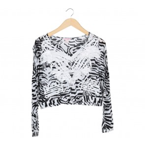 H&M White And Black Blouse