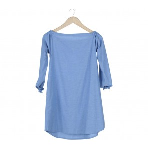 Cotton Ink Blue Plain Mini Dress