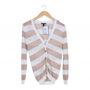 Mango White And Brown Cardigan