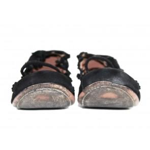 Alaia Black Flower Embellishments Flats