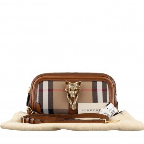 Burberry Brown Alma Wolf Bridle House Check Clutch