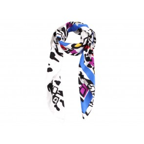 Chanel Multi Colour Silk People Silhoutte Scarf