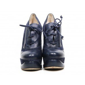 Fendi Dark Blue Lace-Up Boots