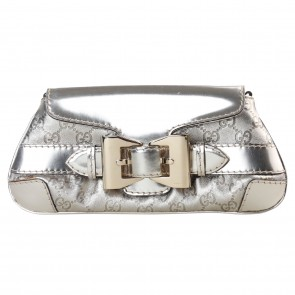 Gucci Silver Belted Clutch
